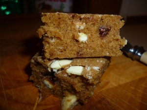 Butterscotch and White Choc Brownies