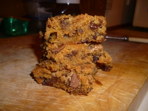 Butterscotch, Choc and Raisin Brownies