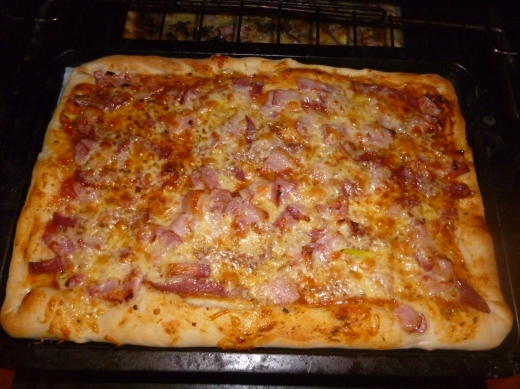 Bacon, salame and cheese greedyboys pizza...